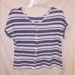 Blue and White Striped Shirt.
